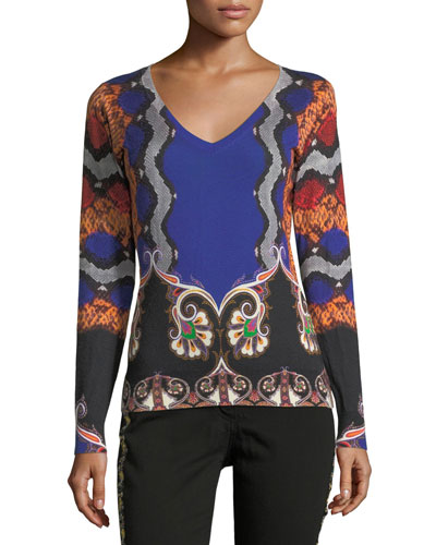 Snake-Print V-Neck Silk-Cashmere Sweater