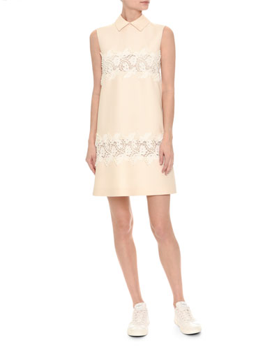 Sleeveless Lace-Trim Crepe Couture Dress, White