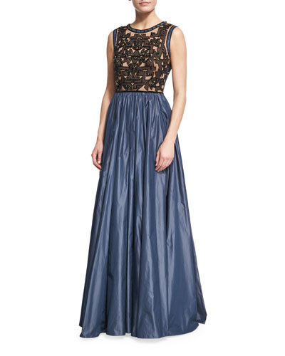 Beaded Evening Gown with Taffeta Skirt, Black/Smoke Gray
