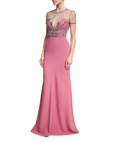 Beaded-Bodice Illusion Gown
