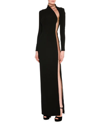 Illusion-Panel Silk Long-Sleeve Gown