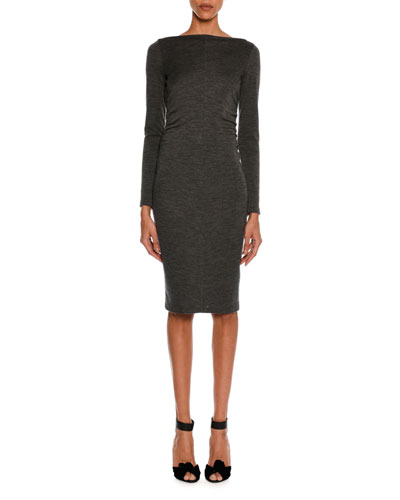 Mélange Jersey Long-Sleeve Ruched Dress, Gray