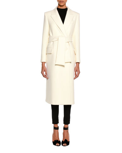 Tailored Wool Long Coat with Belt, White