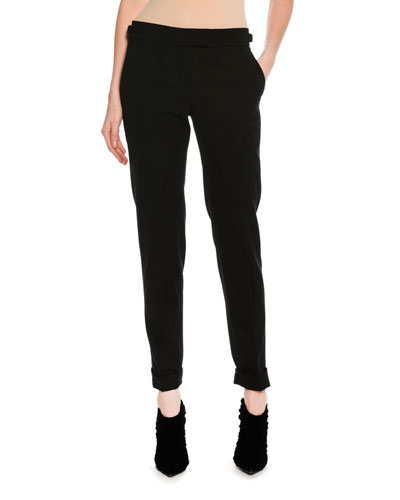 Slim-Fit Gabardine Cuffed Pants, Black