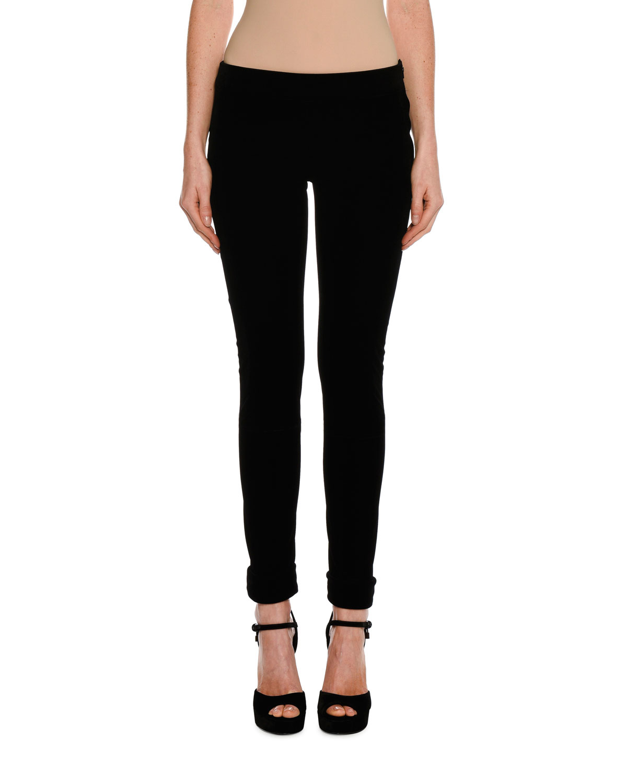 Velvet Zip-Cuff Leggings