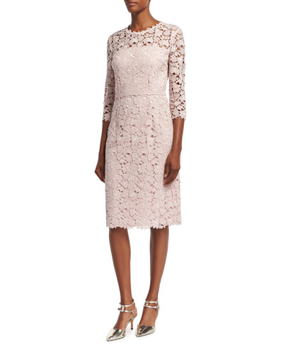 Lace 3/4-Sleeve Sheath Dress, Camellia