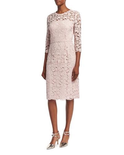 Lace 3/4-Sleeve Sheath Dress, Camellia