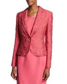 Floral Matelasse One-Button Blazer, Pink Myrtle