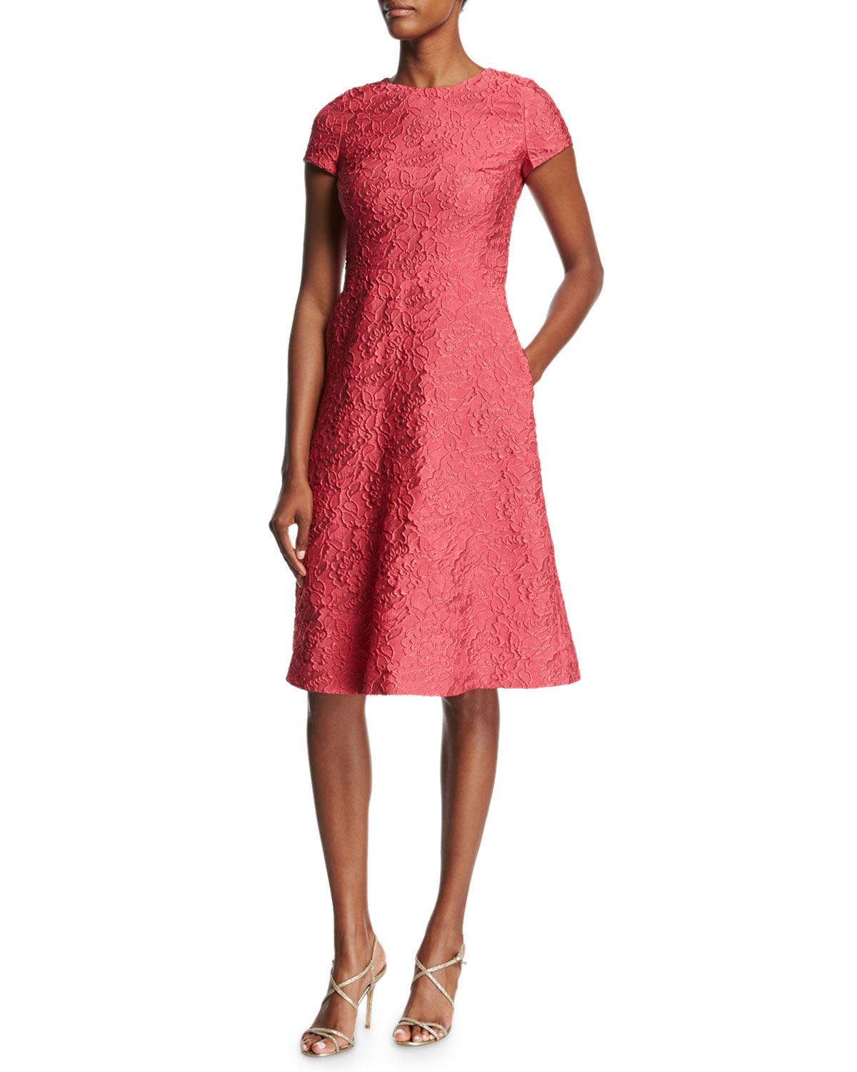 Floral Matelassé Short-Sleeve Dress, Pink Myrtle