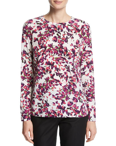 Floral Petal-Print Silk Long-Sleeve Top, Fantasy