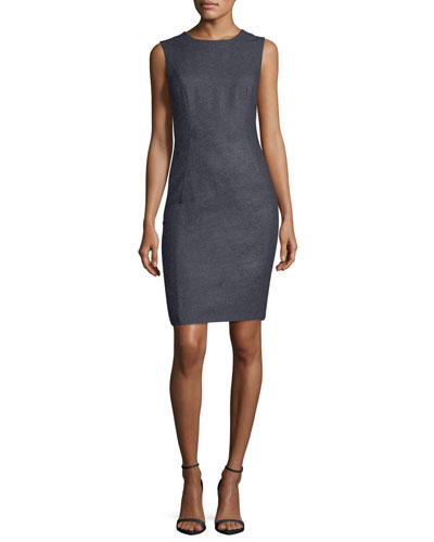 Jewel-Neck Sleeveless Cashmere-Blend Sheath Dress