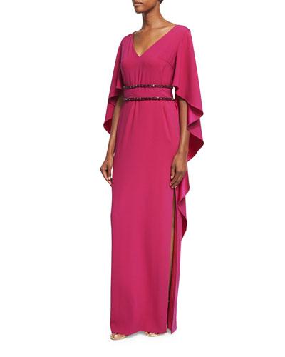 Cape-Sleeve Jewel-Trim Gown, Magenta