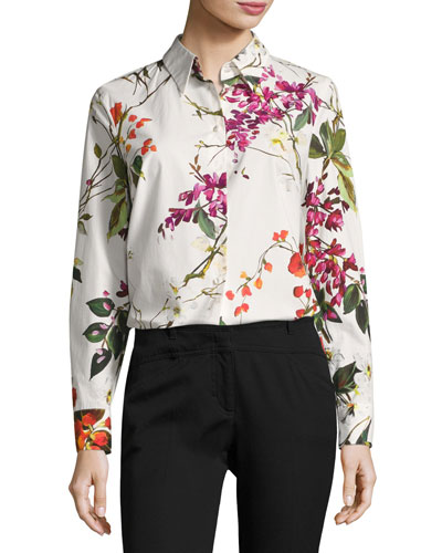 Floral-Print Cotton Shirt, White/Multicolor