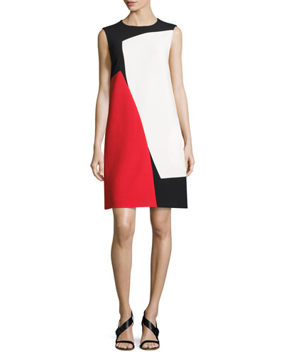 Colorblock Sleeveless Shift Dress, Black