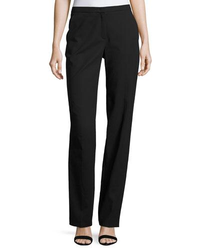 Tamineh Classic Stretch-Cotton Boot-Cut Pants, Black