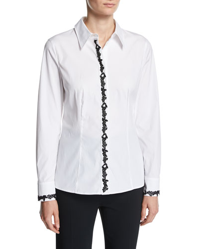 Contrast-Lace Poplin Shirt, White