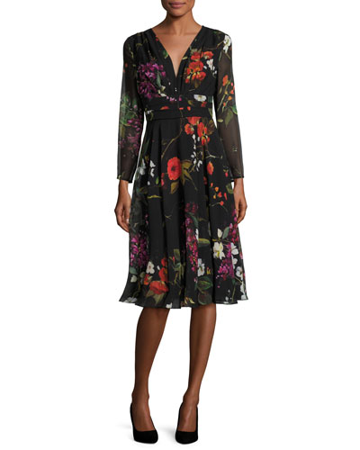 Floral-Print Chiffon Empire Dress, Multicolor/Black