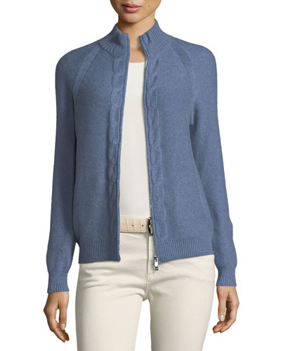 Kimberly Zip-Front Baby Cashmere Cardigan