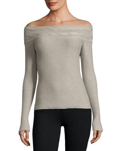 Kimberley Off-the-Shoulder Baby Cashmere Sweater