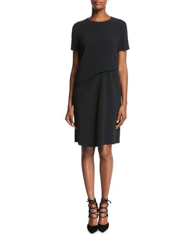 Short-Sleeve Crepe Shift Dress, Black