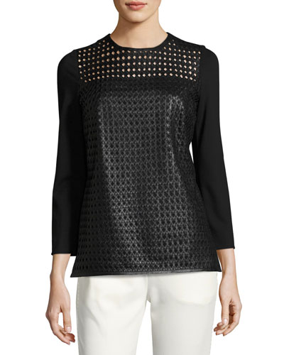 Lattice Leather-Front Top