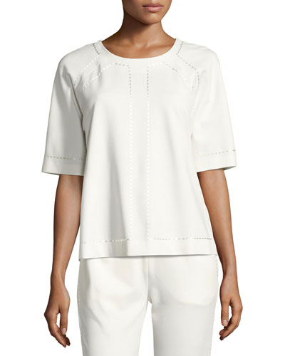 Raglan-Sleeve Embroidered Jersey Top, Off White