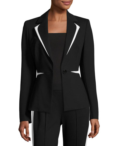 Contrast-Trim One-Button Blazer, Black/White
