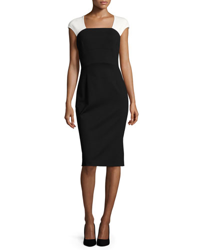 Colorblock Cap-Sleeve Sheath Dress, Black