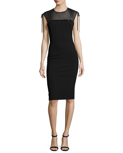 Embroidered Georgette-Yoke Sheath Dress, Black