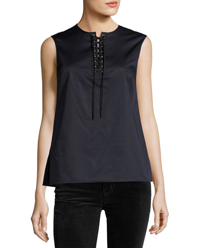 Sleeveless Poplin Lace-Up Top, Navy