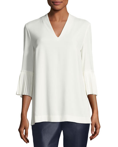Pleated-Sleeve Crepe V-Neck Blouse