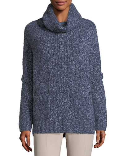 Turtleneck Cashmere Melange Boucle Pullover Sweater