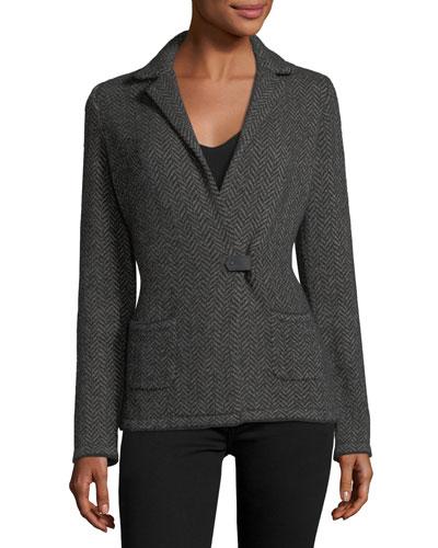 Giacca Herringbone Cashmere-Silk Sweater Jacket