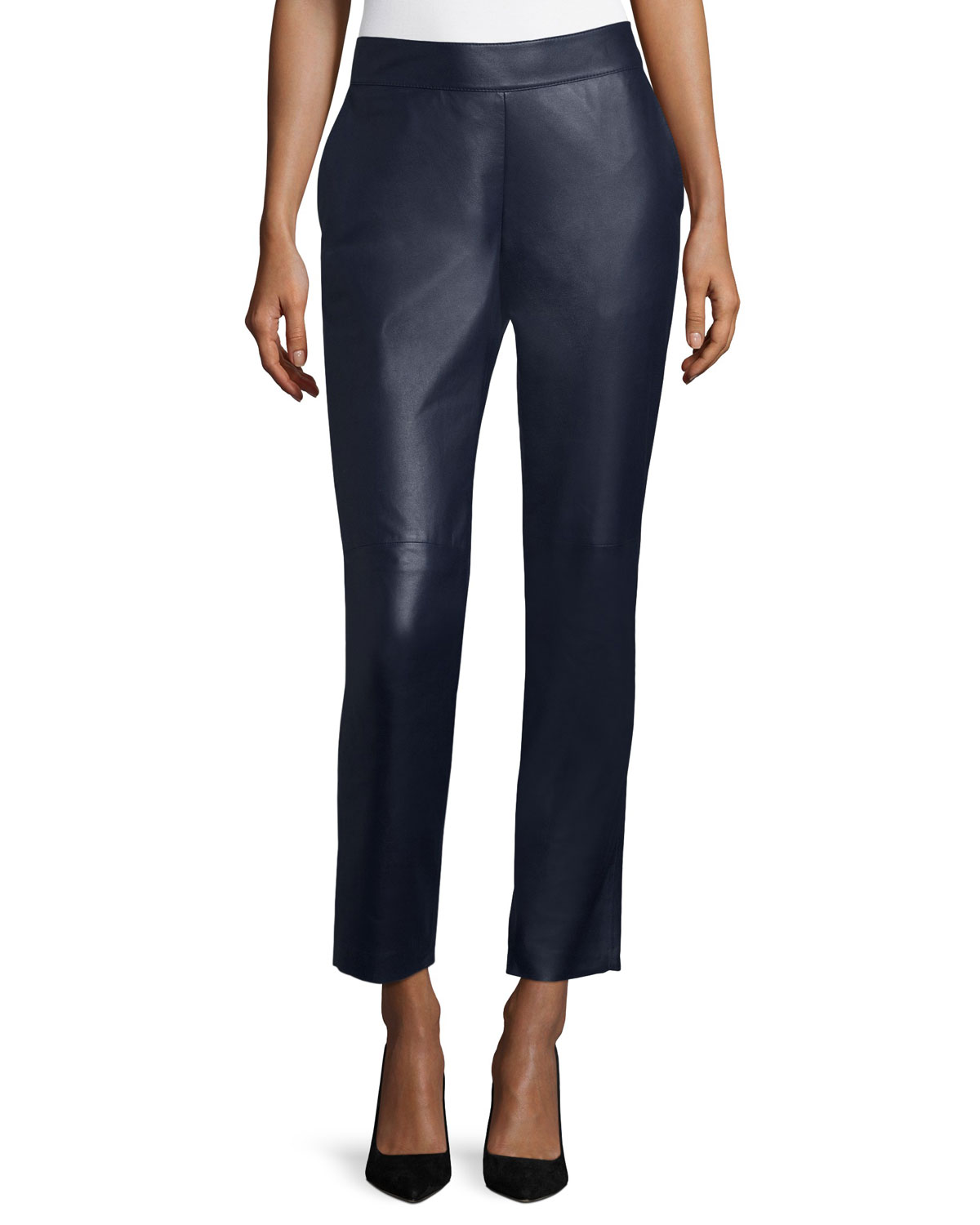 Lunana Leather Ankle Pants Deep Sea