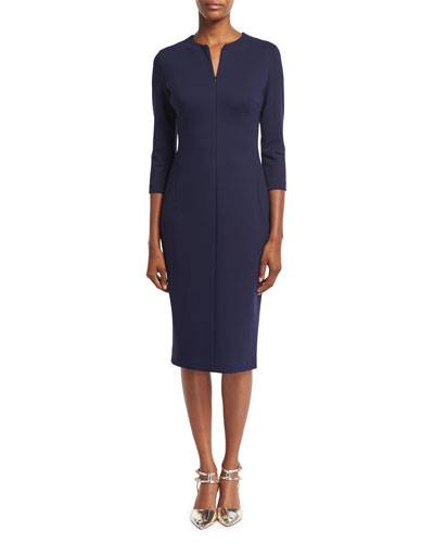 Zip-Front Lace-Up Sheath Dress, Deep Sea