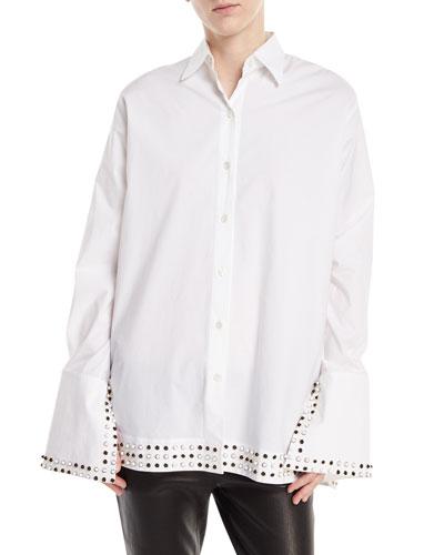 Studded-Collar Poplin Shirt