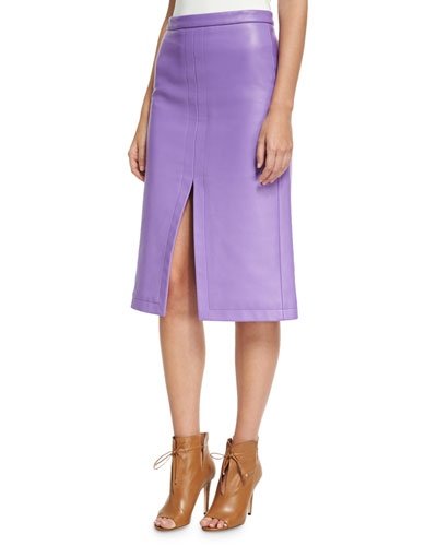 Napa Leather Slit-Front Pencil Skirt, Purple