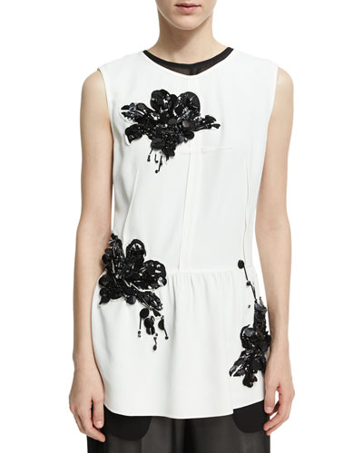 Sequined Lily Sleeveless Peplum Top, White