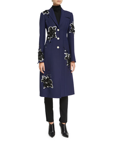 Floral-Embellished Tailored Single-Breasted Coat