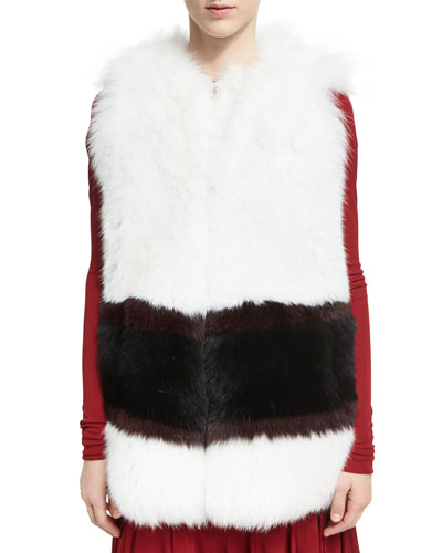 Graphic-Stripe Fox Fur Vest