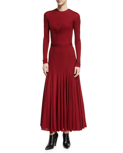 Ruched-Bodice Viscose Maxi Dress