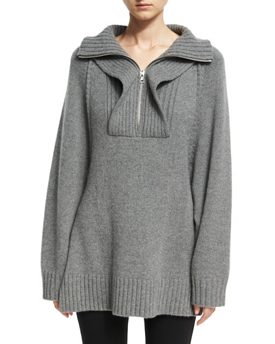 Cashmere Oversized Ribbed Raglan Pullover