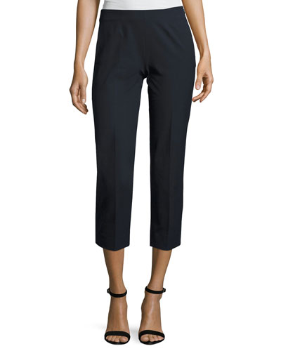 Audrey Stretch-Cotton Cropped Pants, Navy