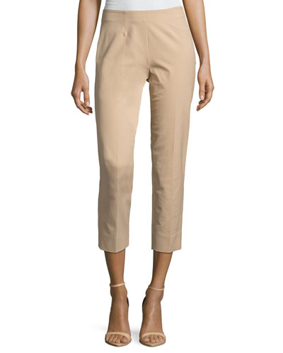 Audrey Stretch-Cotton Cropped Pants, Khaki