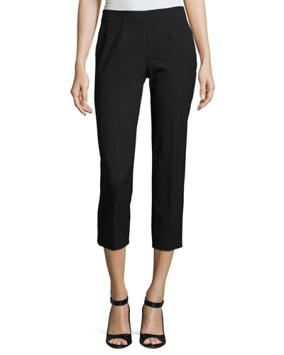 Audrey Stretch-Cotton Cropped Pants, Black