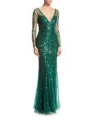 Long-Sleeve V-Neck Beaded Tulle Gown