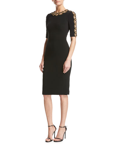 Half-Sleeve Beaded Cutout Dress