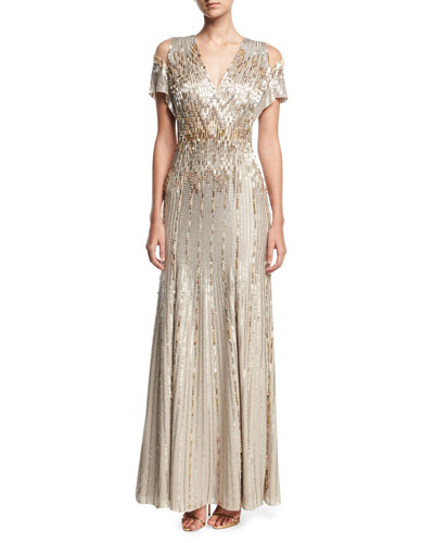 Beaded Chiffon Cold-Shoulder V-Neck Gown
