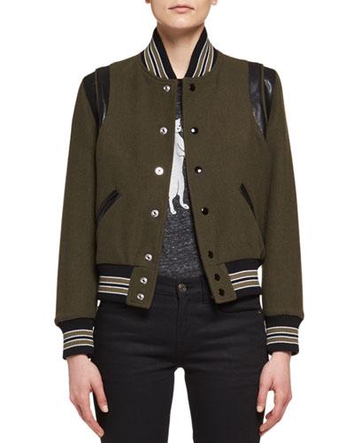 Teddy Varsity Bomber Jacket, Olive