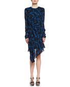 Flame-Print Draped Long-Sleeve Dress